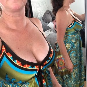 Hot Silky strappy dress size small.